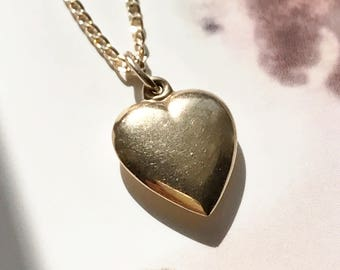 Vintage 14k gold puffy heart charm necklace | dainty sweetheart romantic love pendant | fine bridal jewelry | Mother's Day anniversary gift