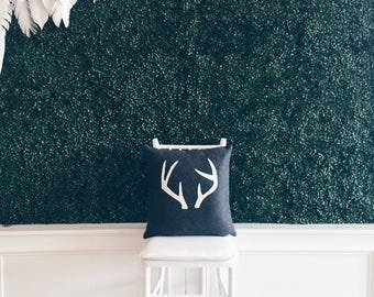 Charcoal Grey and Cream Deer Antler Pillow Cover - Eco Friendly