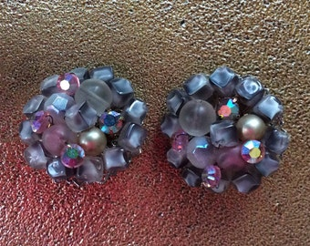 Vintage beaded cluster earrings iridescent & beads of gray -clip