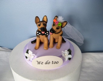 German Shepherd dogs Wedding Cake Topper, handmade, whimsical, clay, personalized, interactive, pawsnclaws