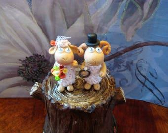 Outdoor Wedding Cake Topper, Rustic, clay, handmade, sheep, ewes, I love ewe, bride and groom, bouquet, wedding ring, tree stump