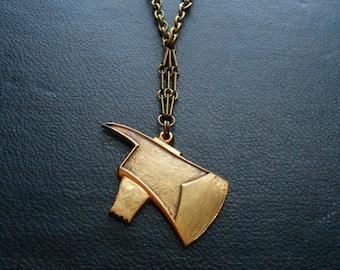 lizzie borden vintage axe head pendant - repurposed antique jewelry - bad girl edgy indie horror jewelry