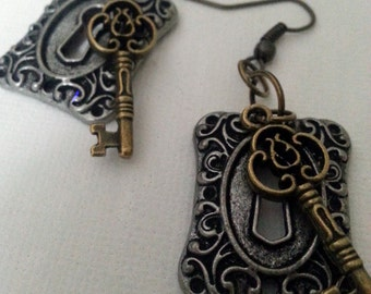 Steampunk Key to my Heart Earrings I -- mixed metals