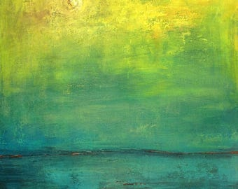 Abstract Landscape Painting ORIGINAL Artwork Large Yellow Turquoise Modern 36x30  by BenWill