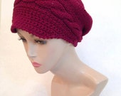 Newsboy Wool Red Handknitted Slouch Cabled Hat