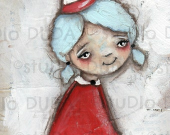 Original Folk Mixed Media Cereal Box Art Painting - A Wee Girl - Free U.S. Shipping
