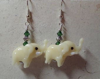 Ivory Cream Elephant Glass Bead Earrings  on Silver  Swarovski Accent   Nuts, you have to have them