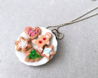 SALE - Christmas Cookies Plate Pendant Necklace - polymer clay miniature food jewelry