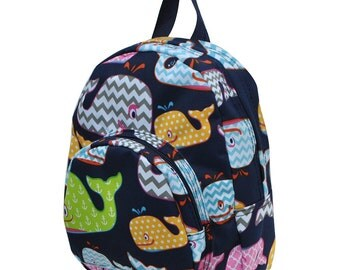 Toddler Whale Backpack - Daycare Backpack - Nursery Backpack - Toddler Diaper Bag - Includes Name or Monogram
