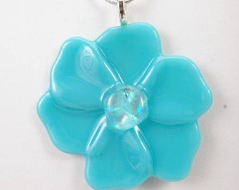 Turquoise flower pendant, fused glass pendant, poppy pendant, flower necklace, pendant