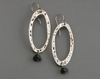 SALE! 50% off Large Pewter Hoop Earrings, silver tone, black onyx, drop dangle earring, light weight, hammered texture, rustic, oxidized