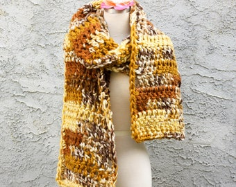 Yellow Blanket Scarf - Extra Super Big Monster Scarf, Perfect For Snuggling - Yellow Tan Cream Brown 70s Kitchen Colors - Handmade Crochet