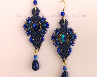 Macrame and Glass Bead Earrings, Cobalt Blue Beaded Earrings, Dark Blue earrings, Classic style