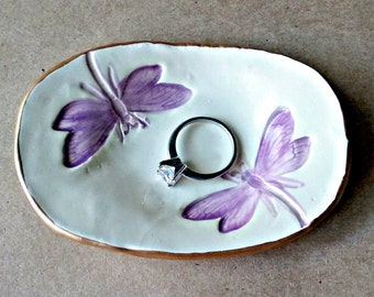 Ceramic Dragonfly Ring Dish Purple edged in gold