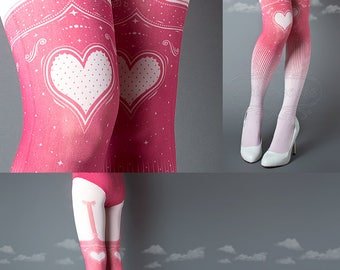 Tattoo Tights, Burlesque Heart garters print light pink thigh highs illusion one size full length printed tights pantyhose, by tattoo socks