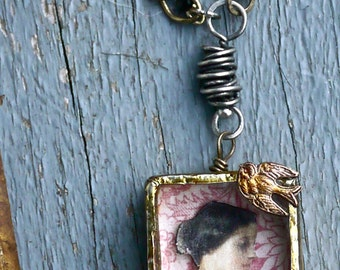 Urban Reliquary - The Whispering Bird - Necklace - Mixed Media Ooak Pendant - Soldered Collage Box Pendant-