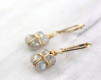 Little Labradorite Gold Wrapped Presents Earrings