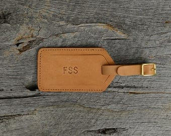 Leather Luggage Tag with Free Monogram - Personalized Travel Gift for him under 30- Natural