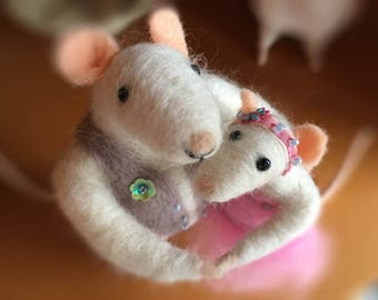 Needle Felted Mouse Fibre Sculpture. OOAK Art Doll. Dancing Mice Couple Pink Dress. Wooly Sculpture Made By The Felt Fairy