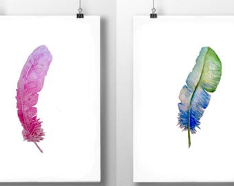 Feather prints, pair of feather watercolor prints, pink blue feathers,