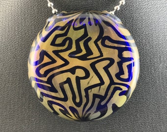 Glass Pendant Bead Keith Haring Homage People Figures Gold Fume (6) - Dan Rushin