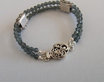 Grey Blue Crystal Bracelet Steel Blue Crystal Double Strand Bracelet Crystal Sterling Stacking Crystal Jewelry