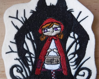 Wolf Shadow, Little Red Riding Hood Embroidered Iron On Patch, Patches, Dark Fairy Tales, Embroidered Applique, The Big Bad Wolf, Red Cape,