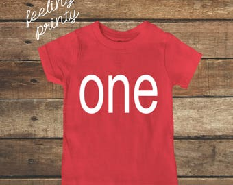 SALE Red First Birthday Baby Shirt One Birthday Shirt One Boys Birthday Shirt