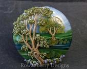 River Runs Between Tree Landscape - Handmade Lampwork Glass Focal Bead - Rowanberry SRA