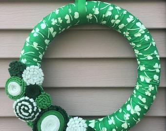 St. Patricks Day Wreath - Shamrock Ribbon Wreath decorated w/ felt flowers. Shamrock Wreath - St. Patty's Wreath - St. Patricks Day Wreath