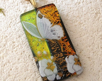 Butterfly Necklace, Dichroic Glass Necklace, Dichroic Jewelry, Monarch Butterfly, Fused Glass Jewelry, Gold Necklace Included,  102716p100r
