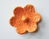 Elegant Ring Holder - Orange Ring Dish - Raised texture Ring Bowl - Glazed in bright orange