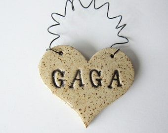 Gaga Ornament - ceramic clay - heart shaped - personalized, handmade, ready to mail - Gaga in speckled oatmeal