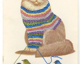 Smitten with a knitting kitten. Original collage by Vivienne Strauss.