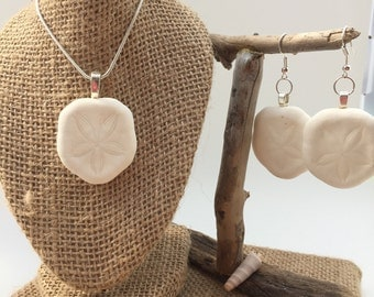 Sand dollar necklace earring set ~ Sterling silver necklace  ~ beach jewelry ~ sand dollar earrings ~ beach necklace ~ Bohemian style