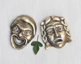 "2 Vintage Brass Drama Masks - comedy and tragedy Greek mask wall hangings - small 3"" theater faces"