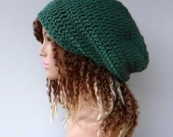 Sage Slouchy hat, wool beanie, woman or man Slouchy Beanie hat, baggy handmade crochet hat, winter hat, green wool beanie, slouch hat