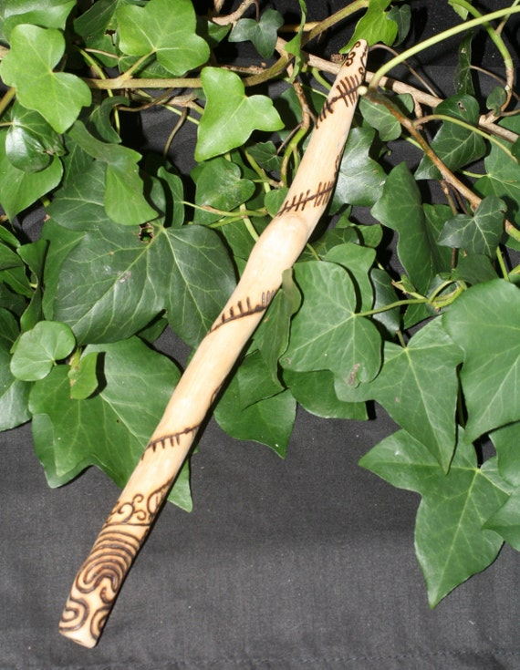 Silver Birch Wood Ogham & Labyrinth Wand - Pagan, Druidry, Ogam, Ogma, Wicca, Witchcraft