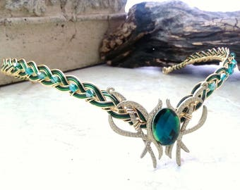 Emerald Green Oracle Gem Elven Circlet Tiara Headdress