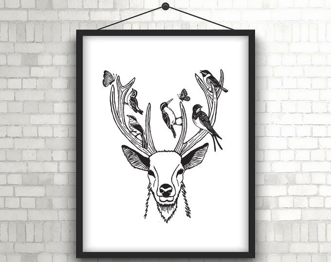 Rustic Decor, Woodland Nursery, Woodland Art, Deer Antlers, Deer Print Art, Boho Art Hanging, Deer Head Decor, Deer Head Wall Decor