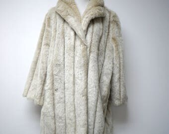 Terry Lewis . 70s 80s  soft faux fur coat . large . made in USA