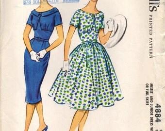 McCall's 4884 Oval Neck Unusual Bodice Slim or Full Skirt ©1959