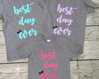 Disney Mickey Ears Best Day Ever S/S T shirt Womens Juniors Adult Reveal Surprise Gray pink mint purple
