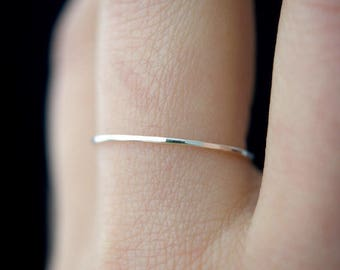 Ultra Thin Sterling silver stacking ring, One Single ring, single silver ring, silver stack ring, stackable ring, hammered silver ring