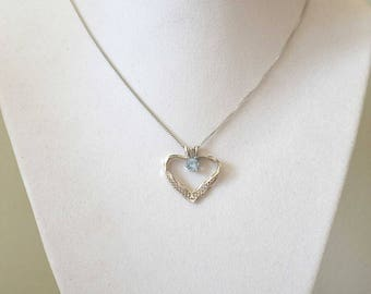 Blue Topaz Pendant Necklace, Vintage Heart Necklace, Sterling Silver Necklace, Topaz Necklace, Silver Heart Pendant