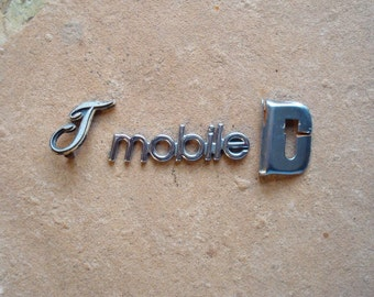 Chrome Metal and Plastic Letters Automotive Car Emblems - Found Object, Industrial Salvage, Sculpture Altered Art Supplies