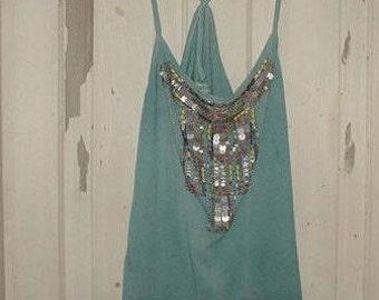 Aqua Tank Top racer back Embellished front beads sequins Recycled Fashion | boho Psytrance lagenlook festival