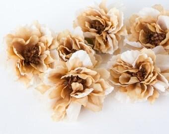 Set of 9 Wild Peonies in Antique Cream and Khaki - Silk Flowers - Artificial Flowers -read description-  ITEM 0959