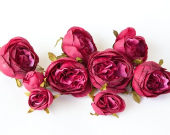 Set of 9 Small to Large Cabbage Roses in Magenta Hot pink -read description- ITEM 0965