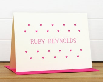 Personalized Stationery Set / Personalized Stationary Set - CRUSH Custom Personalized Note Card Set - Cute Heart